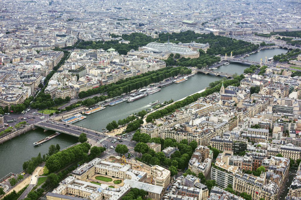 Aerial view toward Seine river from the Eiffel Tower, Paris