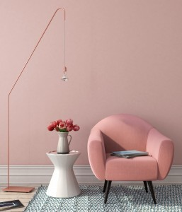 Interior with pink chair and stylish floor lamp